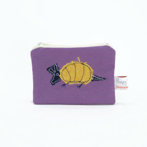 Armadillo Embroidered Small Zip Coin Purse
