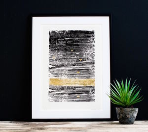 Black And Gold Embossed Print