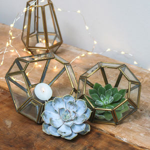 Set Of Two Brass Geometric Tealight Holders - christmas lighting