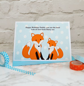 'Fox And Baby' Personalised Birthday Card