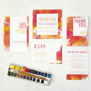 Watercolour Burst Wedding Stationery - wedding stationery
