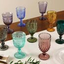 Set Of Four Vintage Embossed Coloured Wine Glasses
