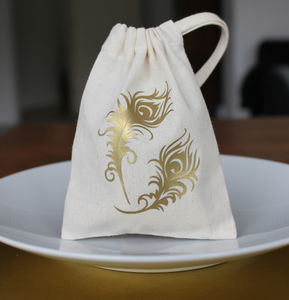 Gold Print Wedding Favour Bag