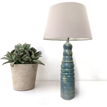 Tall Blue Bespoke Ceramic Table Lamp Base
