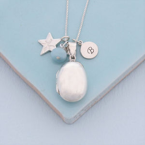 Personalised Silver Oval Locket With Birthstone - children's accessories