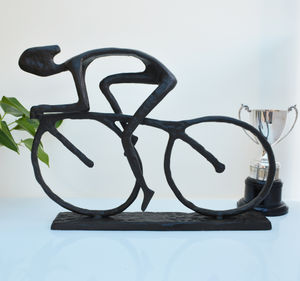Large Metal Cyclist Sculpture - sculptures