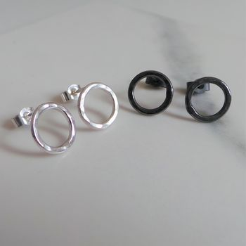 Circle Silver Stud Earrings For Her