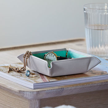 Small Leather And Suede Trinket Tray For Her