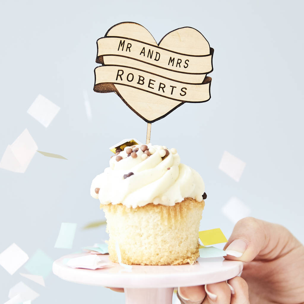 Personalised wedding cupcake toppers by sophia victoria joy personalised wedding cupcake toppers junglespirit Choice Image