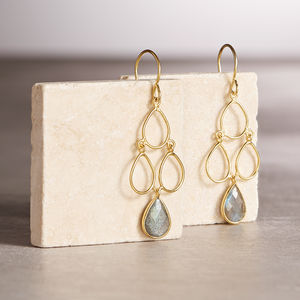 18ct Gold Vermeil Labradorite Decco Earrings - top jewellery gifts