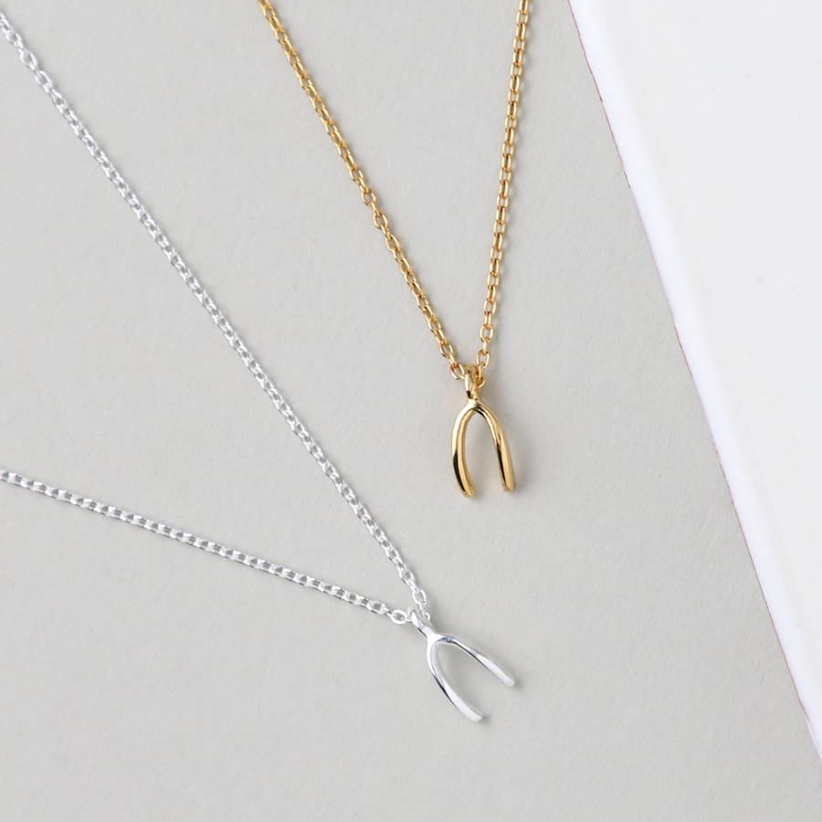 Gold plated wishbone necklace by orelia fine notonthehighstreet gold plated wishbone necklace aloadofball