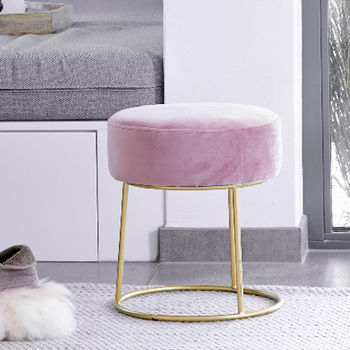 Pink Velvet Stool With Gold Legs