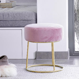 Pink Velvet Stool With Gold Legs - furniture