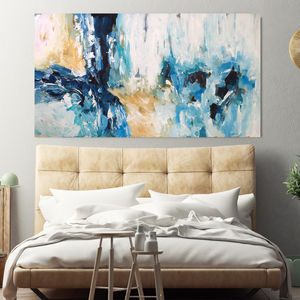 Large Blue Original Acrylic Abstract Canvas Painting - modern & abstract