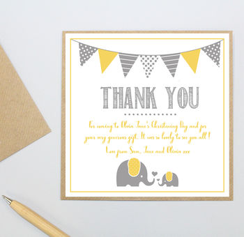 Personalised Elephant Christening 'Thank You' Cards