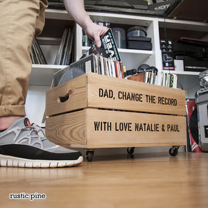 Personalised Record Storage Crate - living room