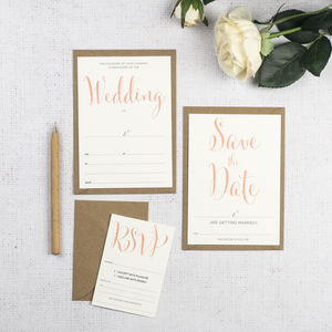 Calligraphy Script DIY Wedding Invitation Set - save the date cards