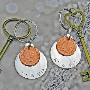 Mr And Mrs Coin Keyring Set - gifts for couples
