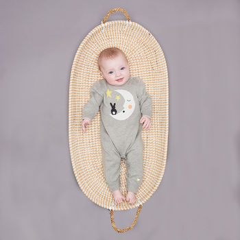 'Luna' Cotton/Cashmere Moon Baby Playsuit