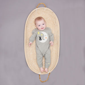'Luna' Cotton/Cashmere Moon Baby Playsuit - the 'no pink or blue' children's collection