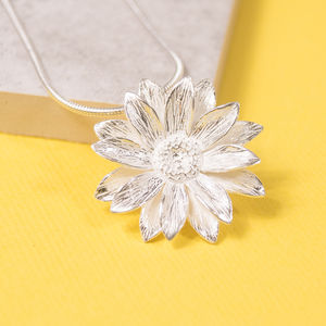 Large Silver Sunflower Pendant - necklaces & pendants