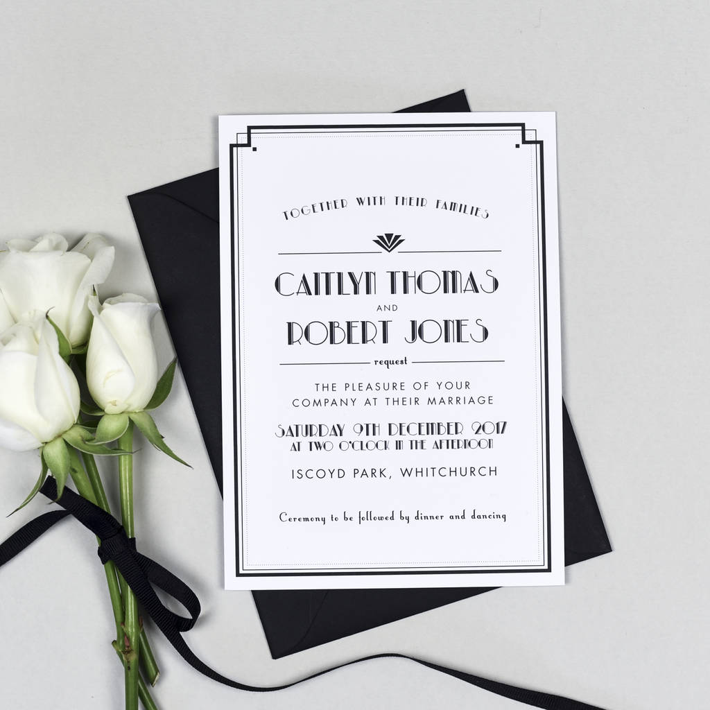 Wedding Invitation Book Style: Art Deco Style Estelle Wedding Invitation By Project