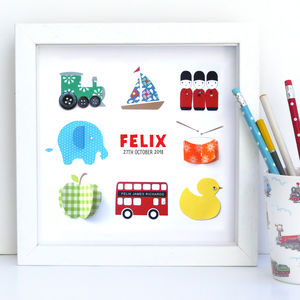 Personalised Baby Boy Collection Artwork - mixed media pictures for children
