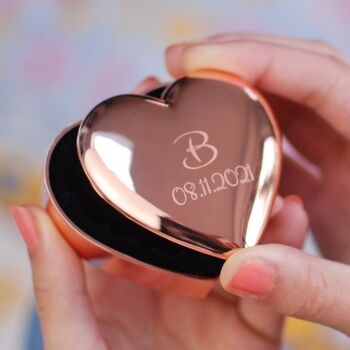 Personalised Rose Gold Heart Trinket Box