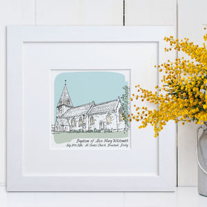 Personalised Christening Illustration - children's room