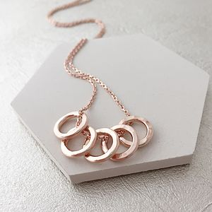 50th Birthday Five Rose Gold Rings Necklace - necklaces & pendants