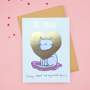 'Be Mine' Gold Foiled Cat Valentines Card