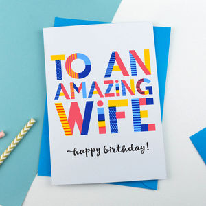 Amazing Wife Personalised Card - congratulations cards