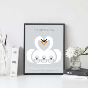 Family Of Swans Personalised Print - personalised