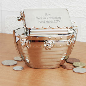Engraved Noah's Ark Money Box - new baby gifts