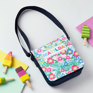 Girls Personalised Tropical Flower Denim Bag - bags, purses & wallets