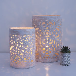 Lace Powder Stone Hurricane Lantern Two Sizes - home accessories