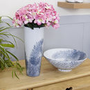 Fern Blue Botanical Vase And Bowl Collection