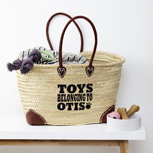 Personalised Toy Storage Straw Basket - new in pets