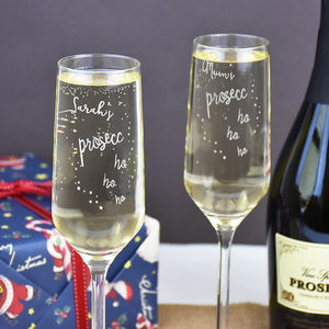 'Prosecco Ho Ho Ho' Personalised Christmas Glass