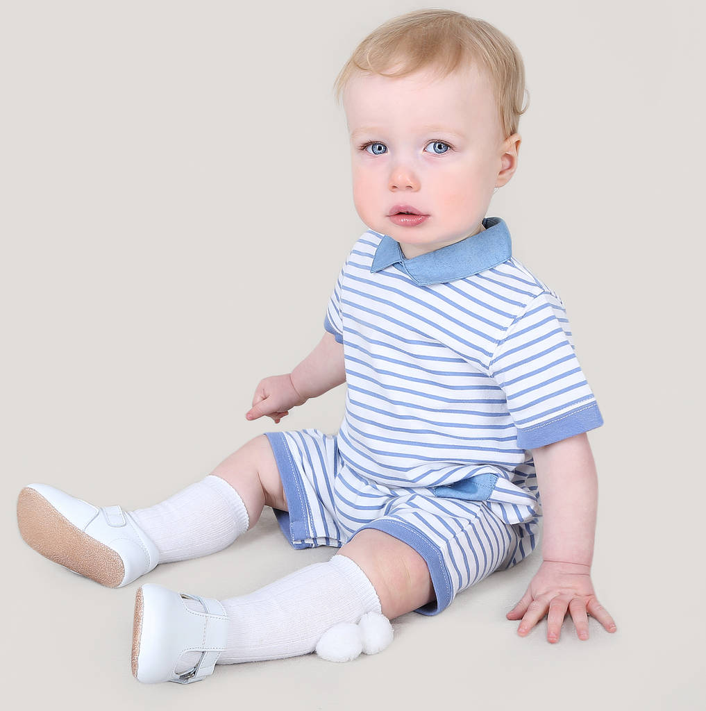 Baby Boy French Designer Striped Romper