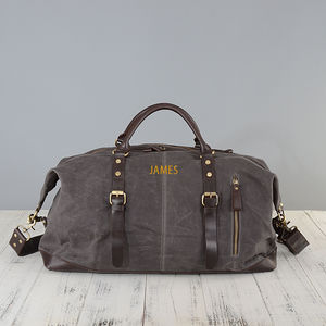 Waxed Classic Travel Holdall Bag Personalised - gifts for him