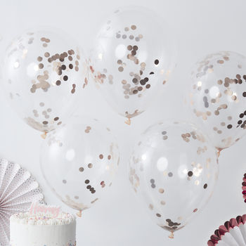 Rose Gold Pick And Mix Confetti Balloons Five Pack