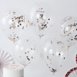 Rose Gold Pick And Mix Confetti Balloons Five Pack - decoration