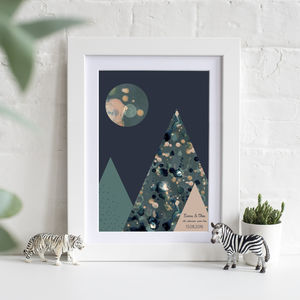 Personalised Mountain Adventures Night Print - passion for pattern