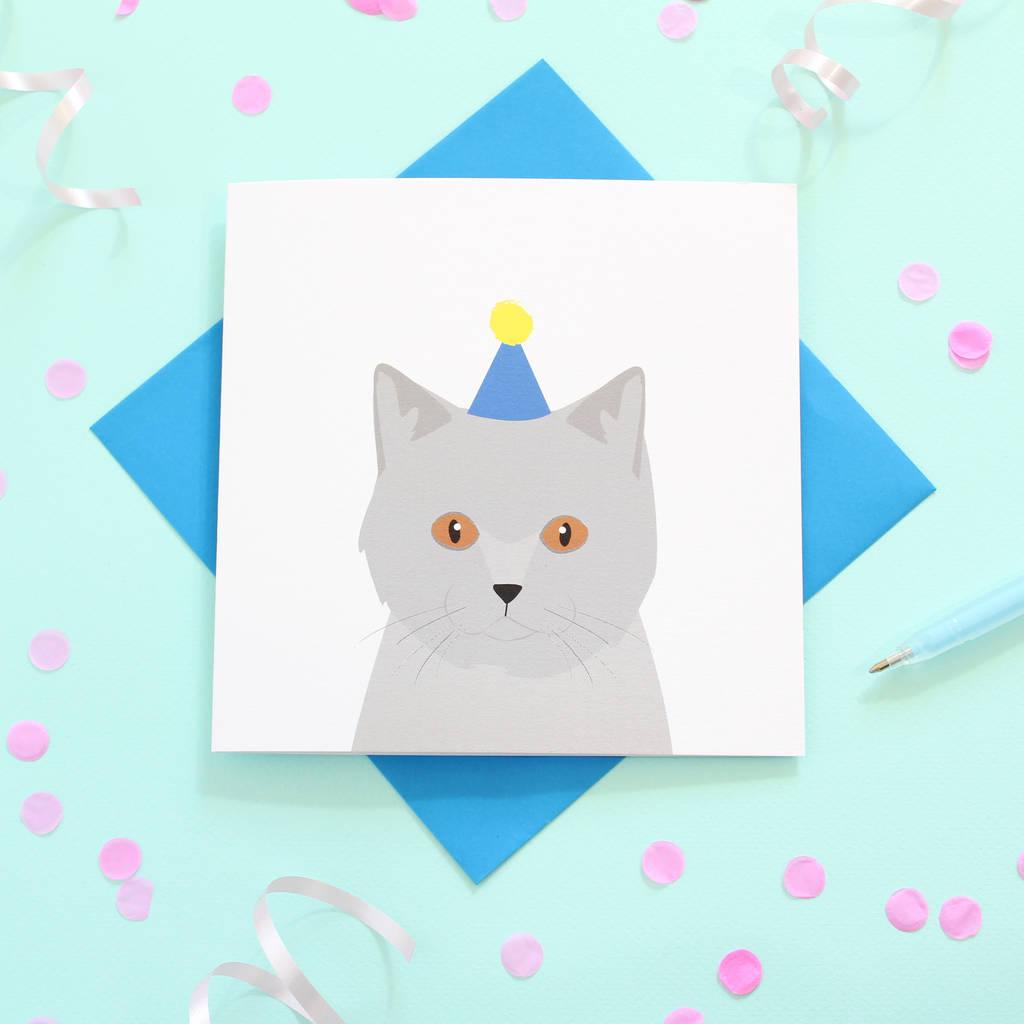 British Shorthair Cat Birthday Card By Heather Alstead Design