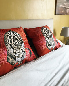 New Vegan Suede 'Prowl' Leopard Cushion In Burnt Orange