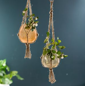 Frosted Glass And Rope Hanging Planters - pots & planters