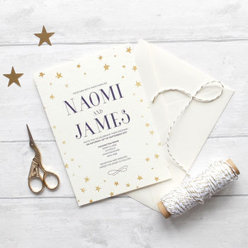 Winter Wedding Invitation Set Starry Night