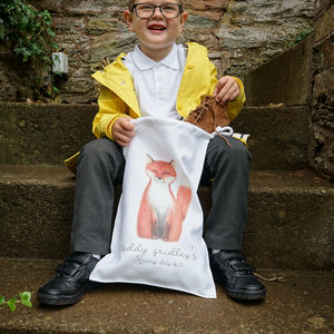 Personalised Finley Fox Rainy Day Or Swimming Kit Bag