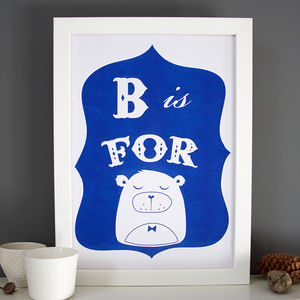 B Is For Bear Alphabet Print